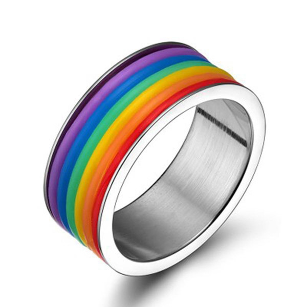 9MM Rainbow Ring Fashion Unisex Titanium Stainless Steel Finger Ring for Man Women Engagement Party Couple Rings Gifts