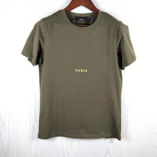 top popular Gold Letter Style Women T shirt short sleeve man women solid tshirt Tops Tees Slim Fit T-shirt Men sporting summer fashion Clothing 2021