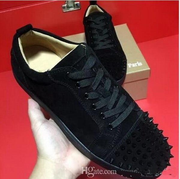 Special Offer 2019 Suede & Black Rhinestone Strass Red Bottom Shoes Men Women's Flat Red Sole Shoes High-Top Sneaker Lace-up Casual Shoes 46