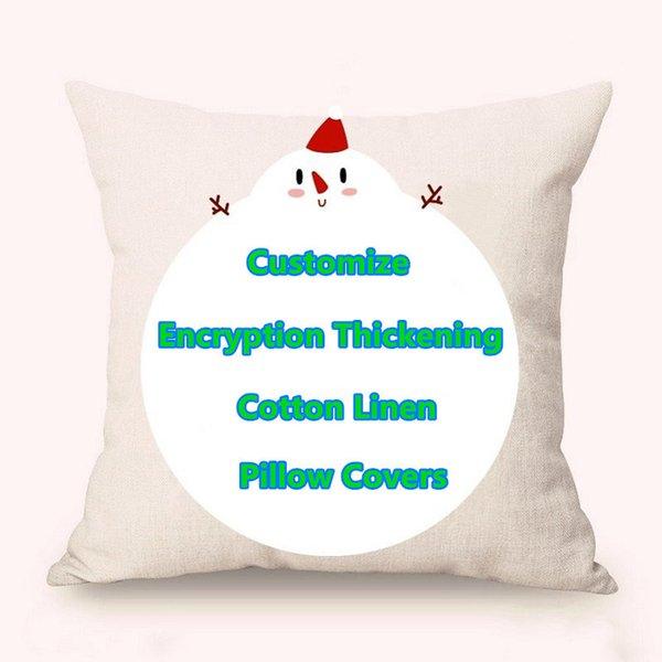 "top popular Customize Encrypted Cotton Linen Pillow Covers Cartoon Spring Fall Minimalistic Geometric Christmas Amazon Explosion Pillowcase 18"" 95-100g 2019"