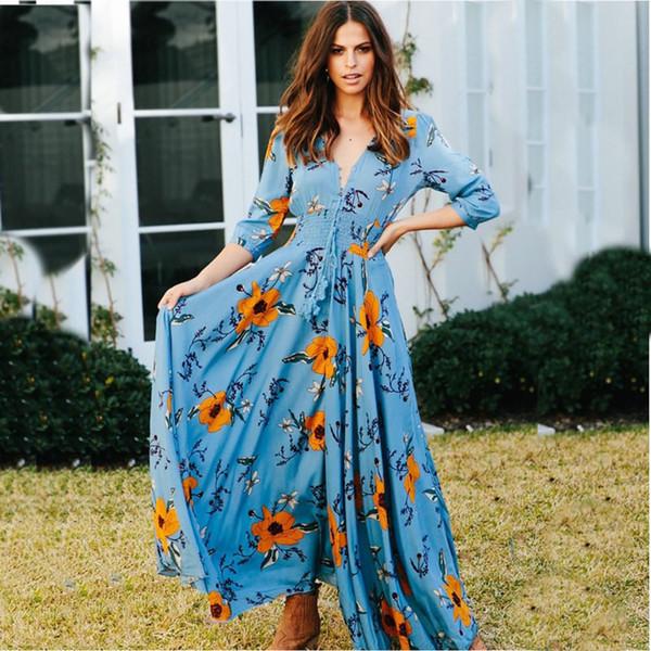 Noche De Botón Floral Vestido Compre Vestidos Del Flores Bohemio A17 59 Largo Maxi Boho Aqc543SRjL