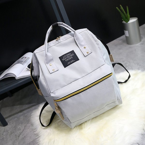 Classic Solid Color Women's Fashion Brand Design Canvas Backpack Sweet Cute Soft Material Travel Trend Shopping Big Backpack