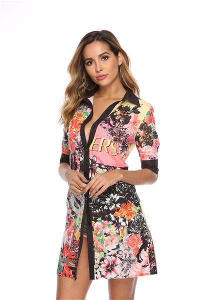 Sommer-Revers-Ausschnitt Hemd der Frauen Kleider Mode Short Sleeve Blumendruck-sexy Damen-Kleider mit Knopf