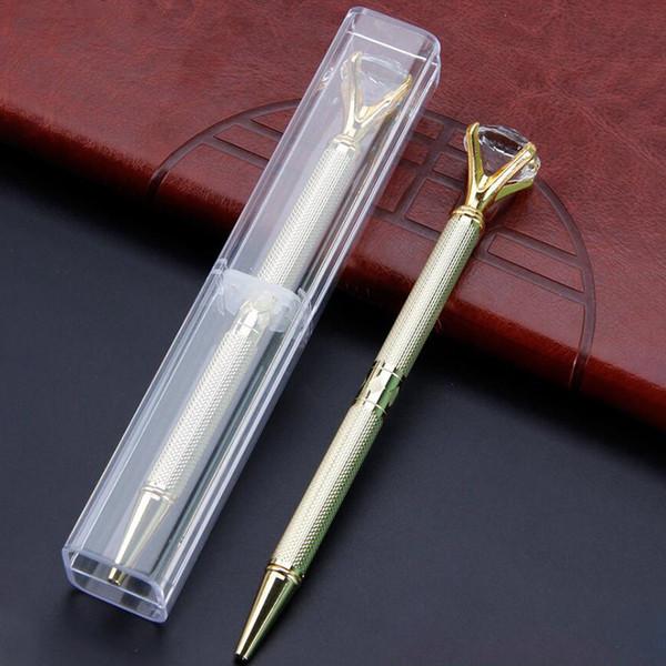 The Latest Version Of The Da Carat Diamond Crystal Pen Gem Ballpoint Pen Wedding Office Supplies Metal Ring Ball Pen Free Shipping