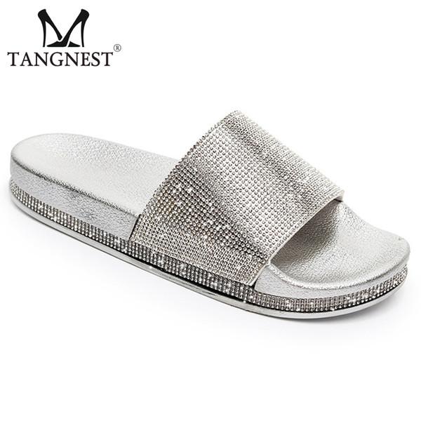 Tangnest Yeni Yaz Altın Terlik Flats Kadın Platformu Faux Rhinestone Gümüş Katı Creepers Bayan Rahat Moda Ayakkabı XWT1526