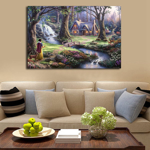 Thomas Kinkade Snow White Discovers The Cottage Art Canvas Poster Painting Wall Picture Print Modern Home Bedroom Decoration Framework