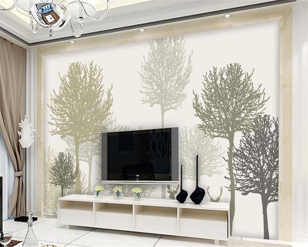 обои Простой Пастырское Серый Ретро Woods Elk TV Фоновая Wall Home Decor Гостиная Спальня 3d обои