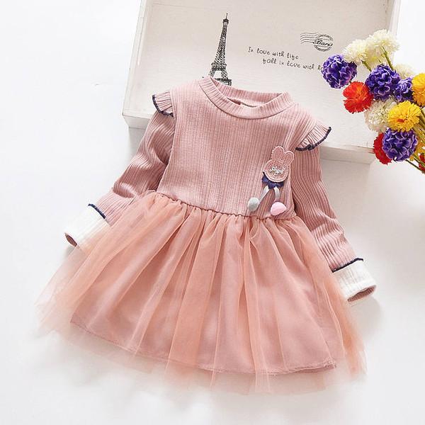 d6473d76edbc Bebê meninas vestido de primavera 2019 crianças outono moda vestidos de  festa de casamento bebe algodão
