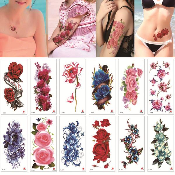 Kadın Kol Bacak Göğüs 3D için güzel Blooming Şakayık Gül Lotus Küçük Çiçek Çıkartması Dövme Mavi Enchantress Pembe Geçici Vücut Tattoo plakası
