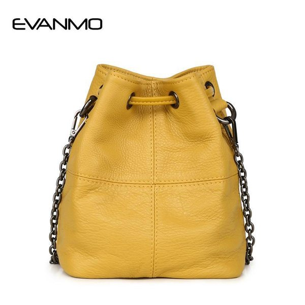Popest Fashion Bucket Bag Summer Women Genuine Leather Shoulder Bag Lady Soft Real Leather Cross Simple Messenger E