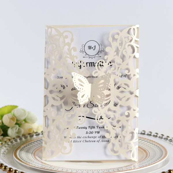 Wedding Invitations Template Ivory Butterfly Laser Cut Fold Christening Invitation Card Hollow Blank Quince Cards Wedding Invitation Kits Cheap