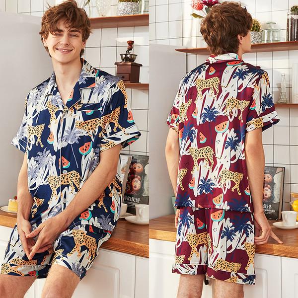 QWEEK uomo pigiama raso uomo pigiameria pigiama da uomo uomo casa indossa 2019 estate pigiama set 2 pezzi imposta pigro pigiama casual
