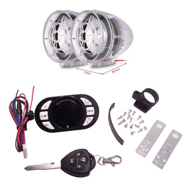 Falante estéreo Rádio moto Sistema de Áudio da motocicleta Blutooth MP3 Player Motor Anti-roubo de Segurança Alarme FM com cartão TF USB