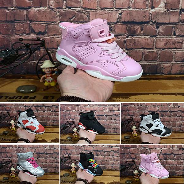 Nike air max jordan 6 retro Yeni İndirim Çocuklar 6 Bebek Basketbol Ayakkabı Altın Siyah Kırmızı Çocuk 6 s Erkek Sneakers Çocuk Spor Düşük Eğitmenler Boyutu 28-35