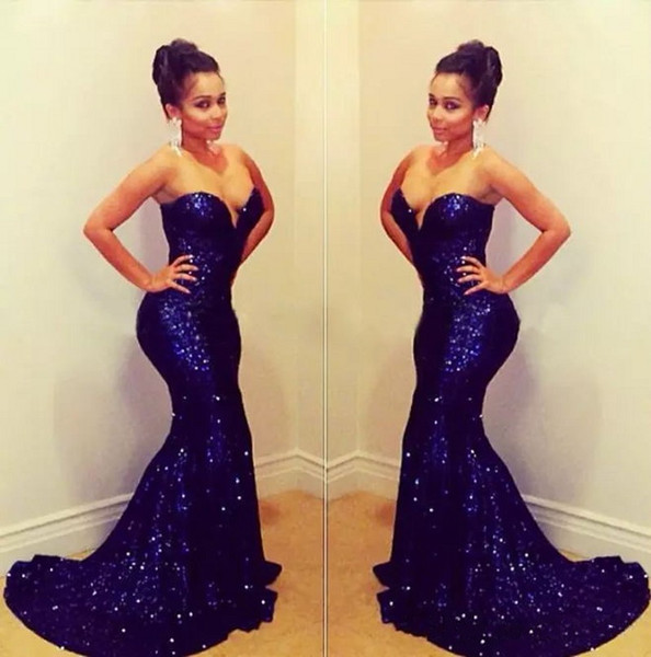 2018 Sparkly Sequins Mermaid Evening Dresses Long Sweetheart Neckline Trumpet Gold Red Black Royal Blur Prom Dresses Party Wear