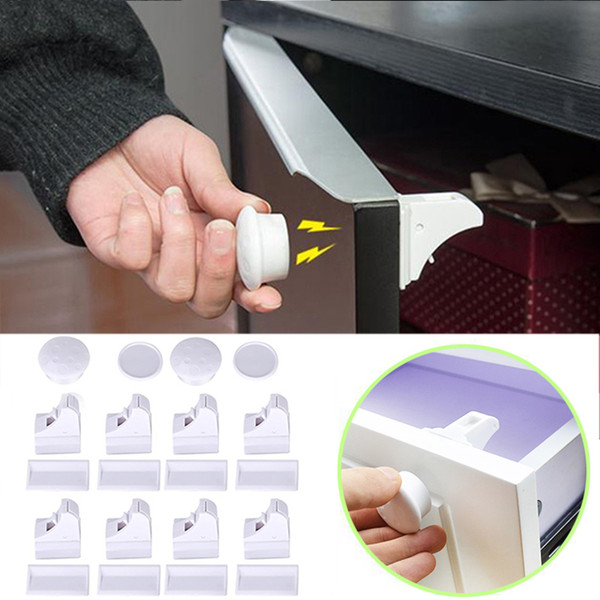 top popular Magnetic Protection Cabinet Door Kids Drawer Locker Security Invisible Lock Safety Baby 4 pcs+1 key 8pcs+2 key 2019