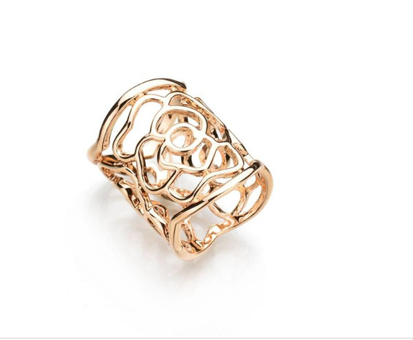 Real Shooting New Arrival Vintage Brooch Gold Color Scarf Clip Hollow Rose Flower Brooches For Women Gift b48