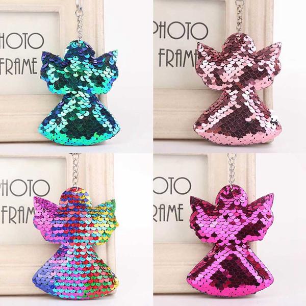 2019 mignon ange cactus trousseau paillettes paillettes porte-clés cadeaux pour femmes Llaveros Mujer voiture sac accessoires porte-clés