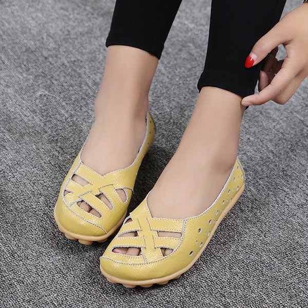 Oeak Flats For Women Comrfort Genuine Leather Flat Shoes Woman Slipony Loafers Ballet Shoes Female