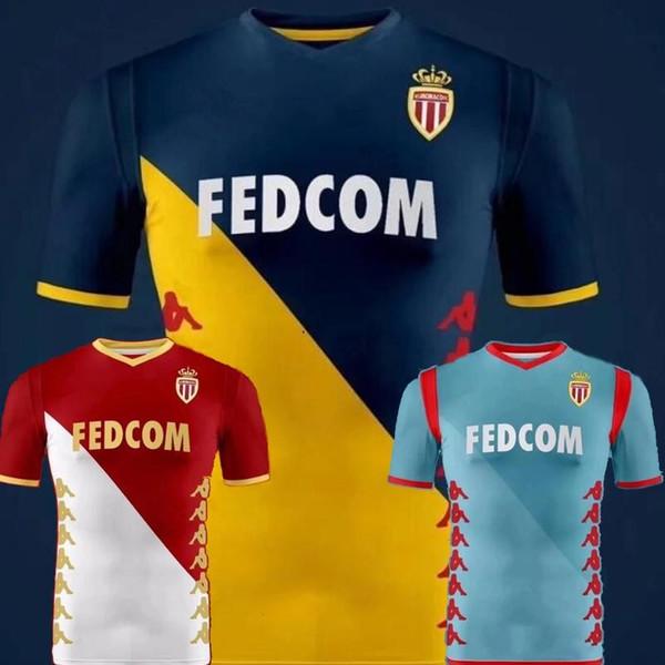 2019 2020 AS Monaco Camisas De Futebol 9 FALCAO 10 JOVETIC 17 GOLOVIN 44 FABREGAS Costume 19 20 Casa Fora Terceira Camisa De Futebol Uniforme