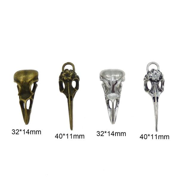 4 unids Steampunk Raven Bird Skull Colgantes Charms Collar Joyas Hallazgos 32 * 14mm 40 * 11mm Caramelos Del Coche Regalo Regalo