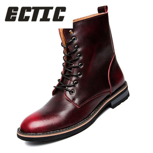 ECTIC 2018 Hot Selling Men Military Shoes Leather Martin Boots EU 38-44 Men Winter Lace-Up Fashion Shoes Brown / Wine Red DP-99