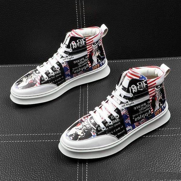 Zapatos de diseñador de marca para hombres Bandera estadounidense Zapatos causales Zapatos de baile de regreso a casa Zapatillas de hombre Zapatillas de hip hop Rock High Top para hombre Para hombre