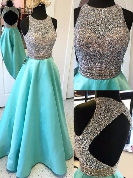 Sexy Open Back Turquoise Crop Top Prom Dresses Long Heavily Beaded Bodice Girls Sparkly Satin Evening Gowns Fast Shipping