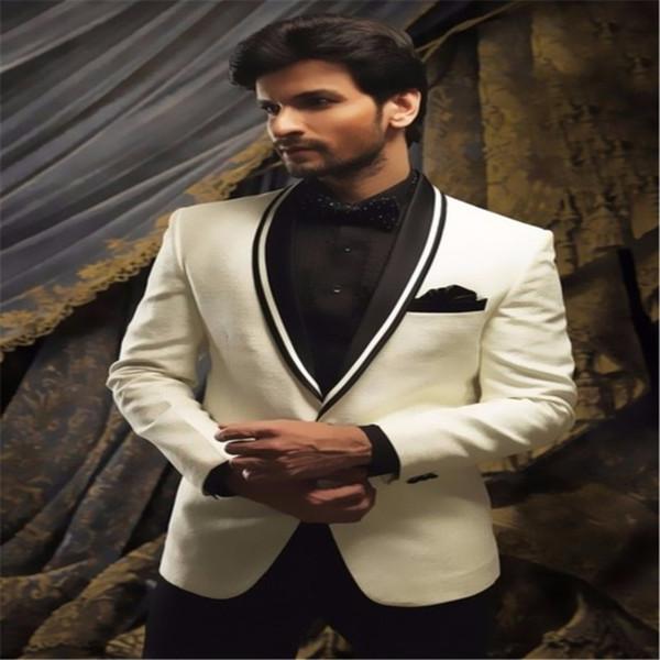 Latest Coat Pant Designs Ivory White Shawl Lapel Wedding Suits for Men Formal Groom Custom Skinny jacket+pants