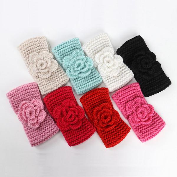 Baby Girls inverno grande fiore ago di lana all'uncinetto con fiore bambino orecchio europeo caldo per bambini intrecciato fiocco per capelli cappello per bambini berretto H47