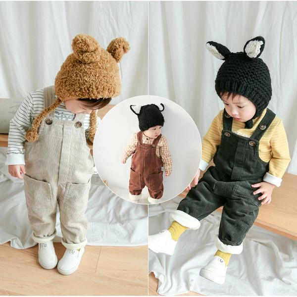 Abbigliamento per bambini Neonate Pure Color Corduroy Leisure Aggiungi Pantaloni in velluto Kids Pure Color Thicking Pants