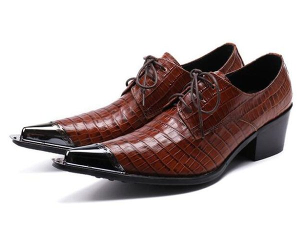 Handmade Coffee Business Men Dress Shoes Pointed Toe Lace Up Plaid Leather Shoes Men Wedding Hidden Heel Plus Size 12