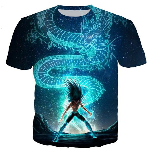 Nouveau mode hommes / femme classique anime Saint Seiya Shiryu drôle 3D imprimer t-shirt Casual manches courtes drôle T-shirt T-shirts Tops T-shirt BB24