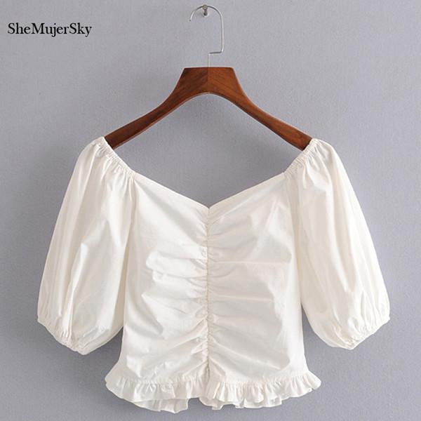 Shemujersky White Elegant Blouses Women 2019 Tops Deep V Neck Cotton Korean Fashion Summer Blouse Shirts Woman Clothes