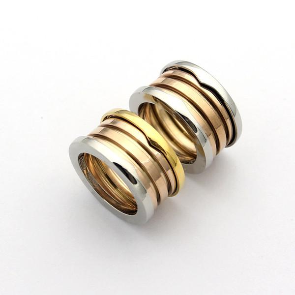 Anelli a 3 strati elastici multi strato in acciaio inox titanio moda, misto oro giallo / oro rosa / argento 3 colori gioielli da donna / uomo