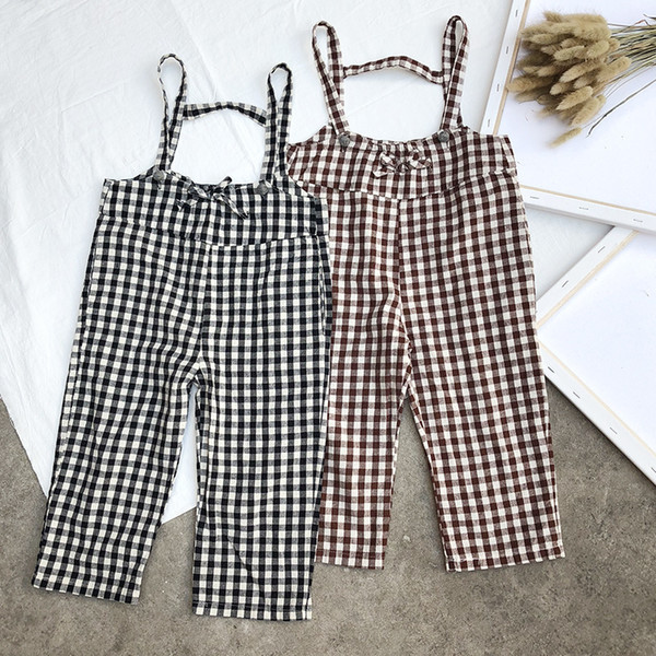 Autumn Spring New Arrival Kids Pants Baby Boys Girls Suspender Trousers Overalls Children Clothes Casual Plaid Pants Jumpsuits
