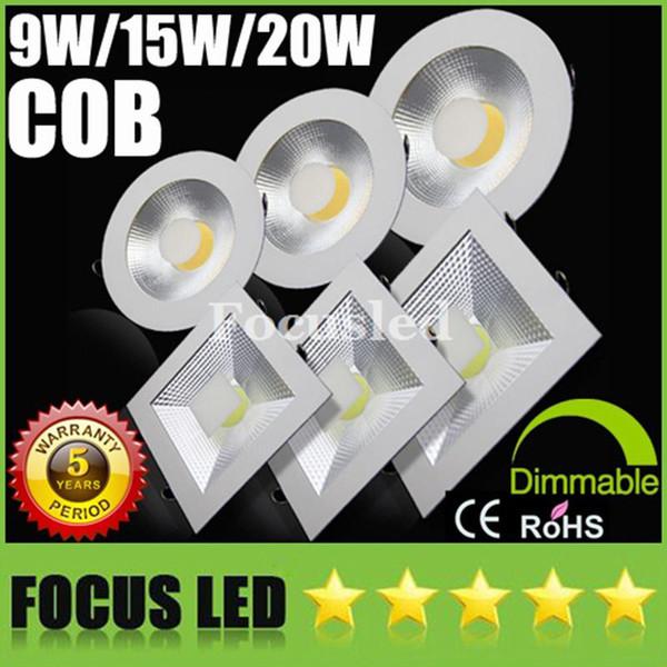 COB 9W 15W 20W Ultradelgado Luces del panel Regulables / no Downlights 110-240V antideslumbramiento Luminaria empotrada Techo abajo Luces Lámparas CE SAA UL