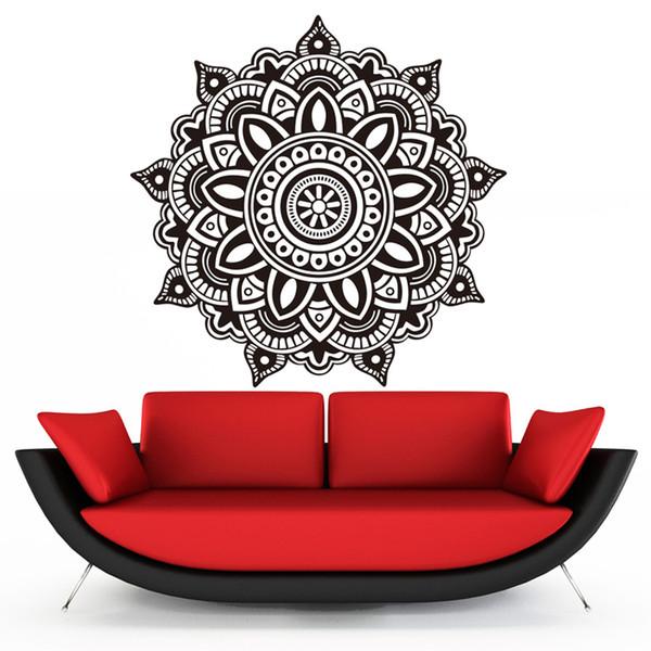 1 Pcs Mandala Flower Indian Wall Sticker Bedroom Wall Decal Art Stickers Waterproof Murals Home Family Vinyl Wallpaper Home Decor