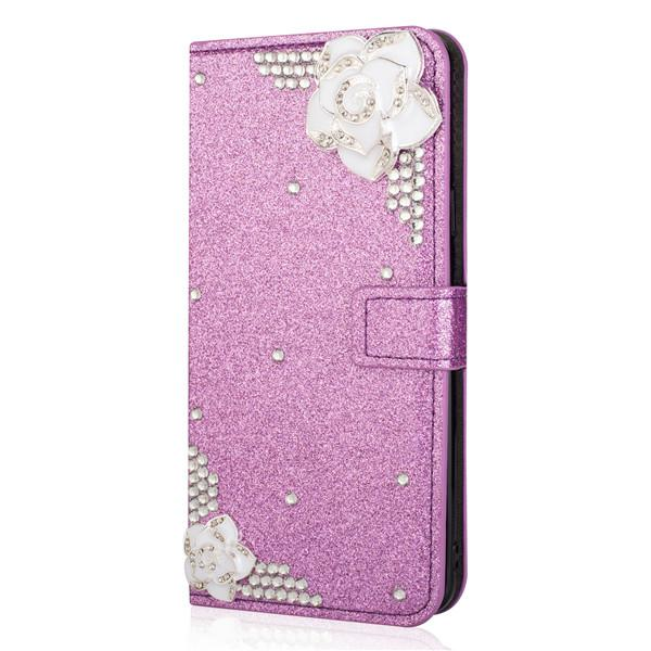 buy popular 9af82 03118 Bling Flower Flip Case For S8 ,Colorful Girls Luxury Wallet Phone Case For  Samsung Galaxy S8 Back Covers Phone Covers Make Your Own Phone Case From ...