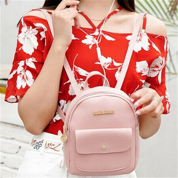 Women Girls Mini Faux Leather Backpack Rucksack School Bag Travel New Womens Ladies Suitable For Travel Backpacks Fashion
