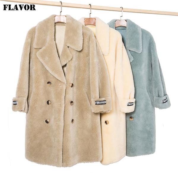 GESCHMACK Frauen-Wolle-Jacken-Graben Pea Coat Zweireiher Winter warme Faux-Schaf-Pelz-Mantel