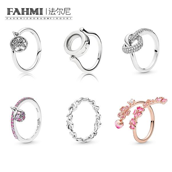 FAHMI 100% 925 Sterling temperamento de las mujeres de plata joyería FLOTANTE LOCKET árbol de la vida anudadas Corazones Long Ring Serie melocotón anudado del corazón