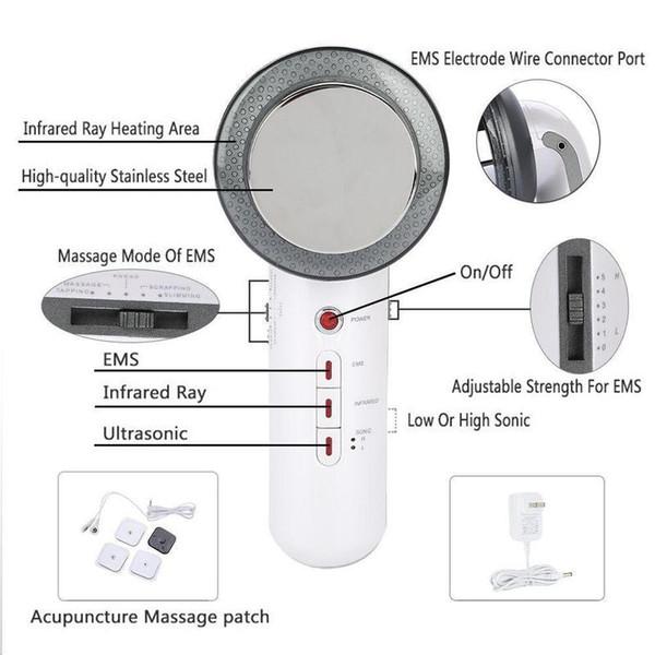 3 IN 1 Körper Schönheit Abnehmen Massagegerät 1 Mhz Ultraschall Ultraschall Mikro Strom EMS Infrarot Wärmetherapie Schönheit Gerät Heimgebrauch