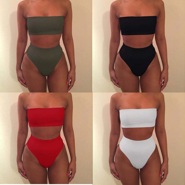 Solid color Strapless Bikini 6 Colors Swimwear Women Off Shoulder Bandage Swimsuit lady Bathing Suit 2019 summer Beachwear B11