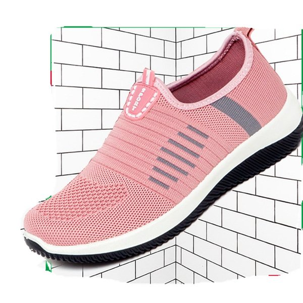 Women's Sneakers Flat Knitting Spring Women Shoes 2019 New Plus Size Female Mesh Walking Shoes Ladies Slip On Breathable Casual