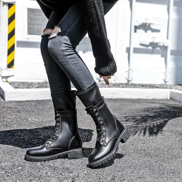 Women Winter Warm Boots Boots Zip-Back Split Leather Women Shoes Fur Mid-Calf