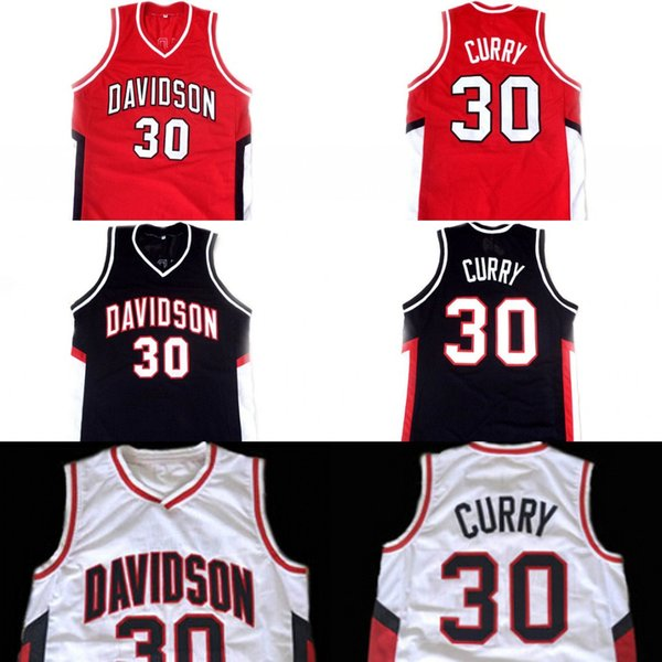 Mens Stephen CURRY #30 Davidson College University Mens Wildcat Basketball Sportswear Jersey Red White Blue S-XXXL