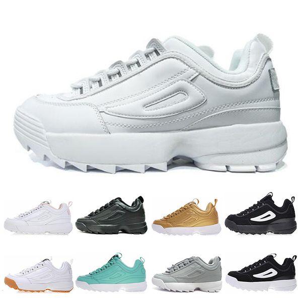 FILA Disruptor 2 II Classic Disruptors II Triple Negro Blanco Rosa Para Mujer Zapatos Para Correr Gris Amarillo Verde Jogging Para Hombre Trianers