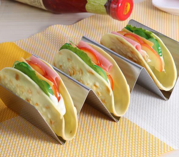 Supports à tacos en acier inoxydable DHL Plateau de camion en forme de vague Support de cuisine mexicaine 3 Supports pour paniers à crêpes Outil de cuisson