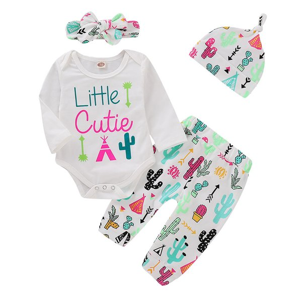 Mikrdoo Newborn Infant Baby Boys Girls Cute Clothes Set Colorful Cactus Print Long Sleeve Romper Pant with Hat Headband 4PCS Outfit